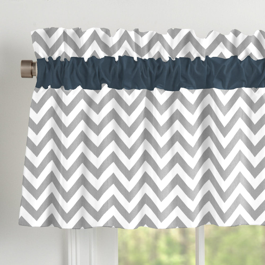 Product image for Navy and Gray Zig Zag Window Valance
