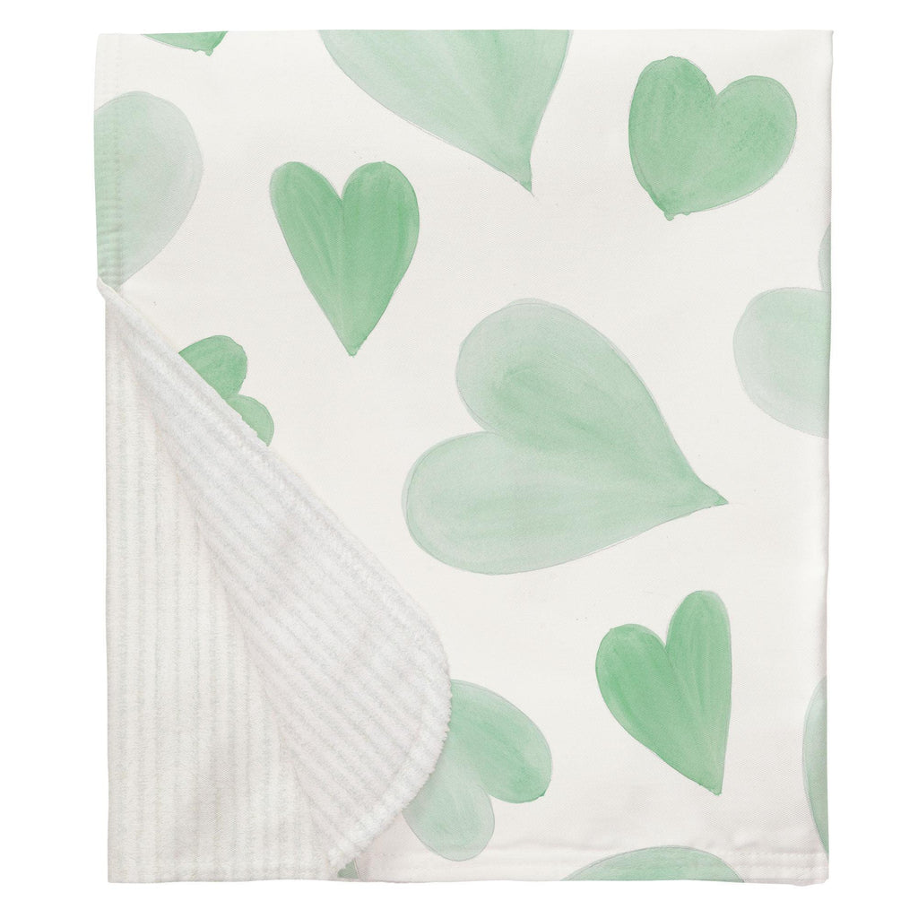 Product image for Mint Watercolor Hearts Baby Blanket
