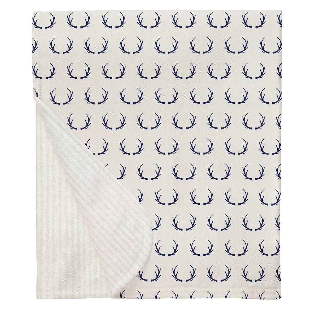 Product image for Windsor Navy Antlers Baby Blanket