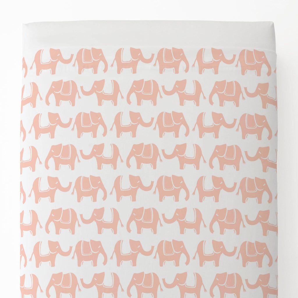Product image for Peach Marching Elephants Toddler Sheet Top Flat