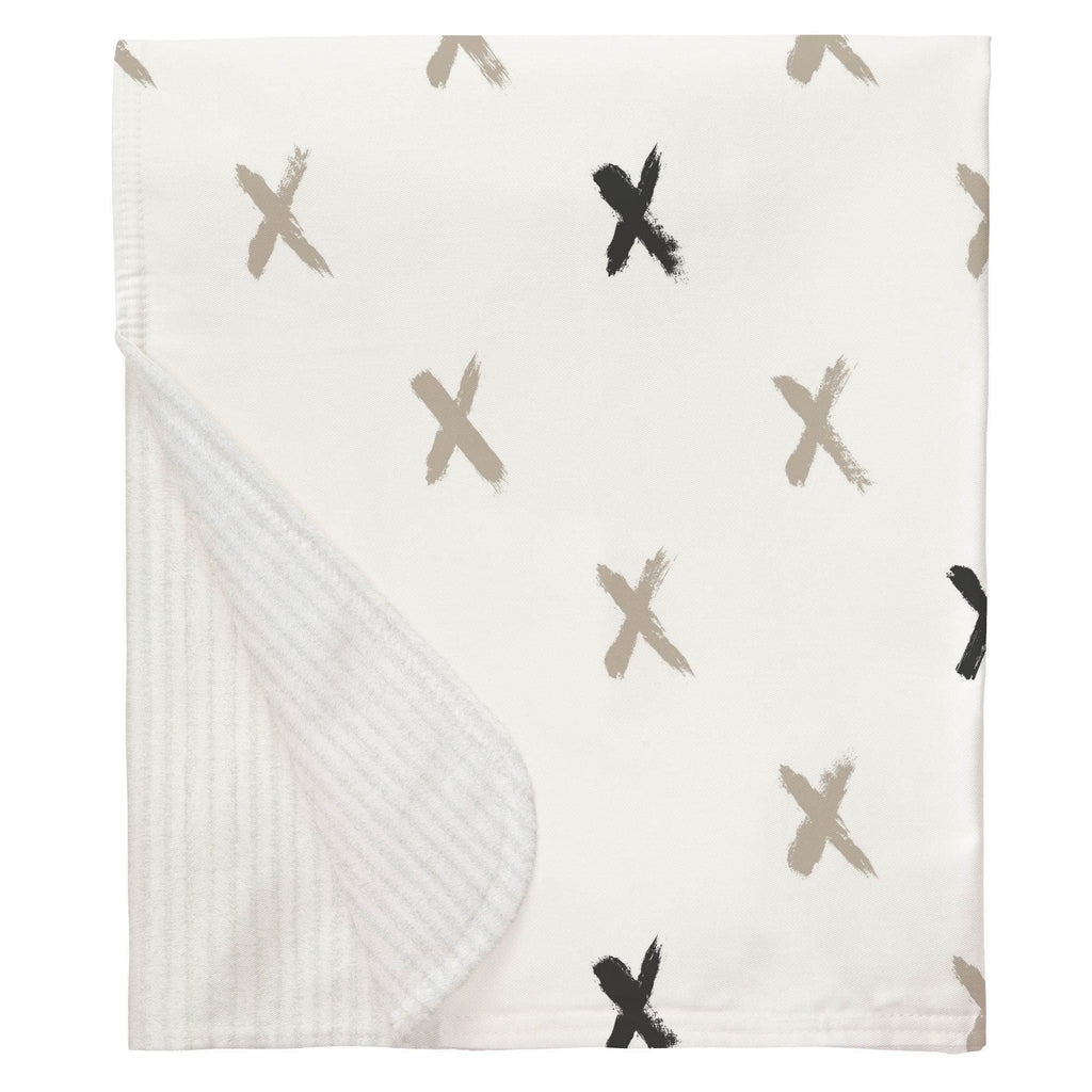 Product image for Taupe and Slate Gray Brush X Baby Blanket