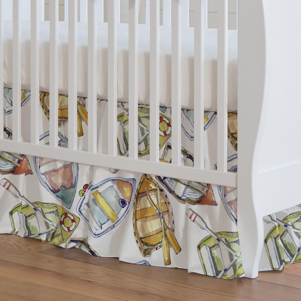 Product image for Watercolor Boats Crib Skirt Gathered