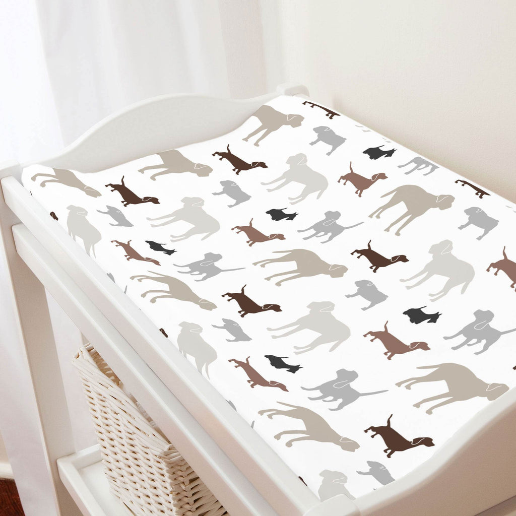 Product image for Brown and Gray Dogs Changing Pad Cover