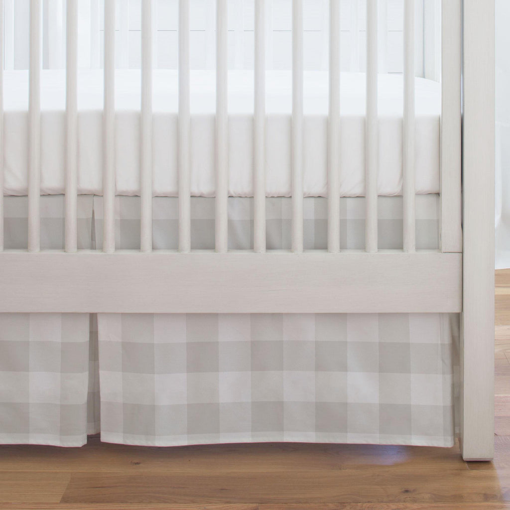 Product image for French Gray and White Buffalo Check Crib Skirt Single-Pleat