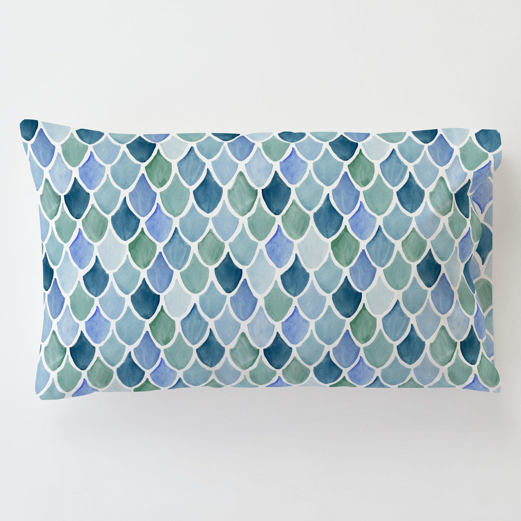 Product image for Blue Watercolor Scales Toddler Pillow Case with Pillow Insert