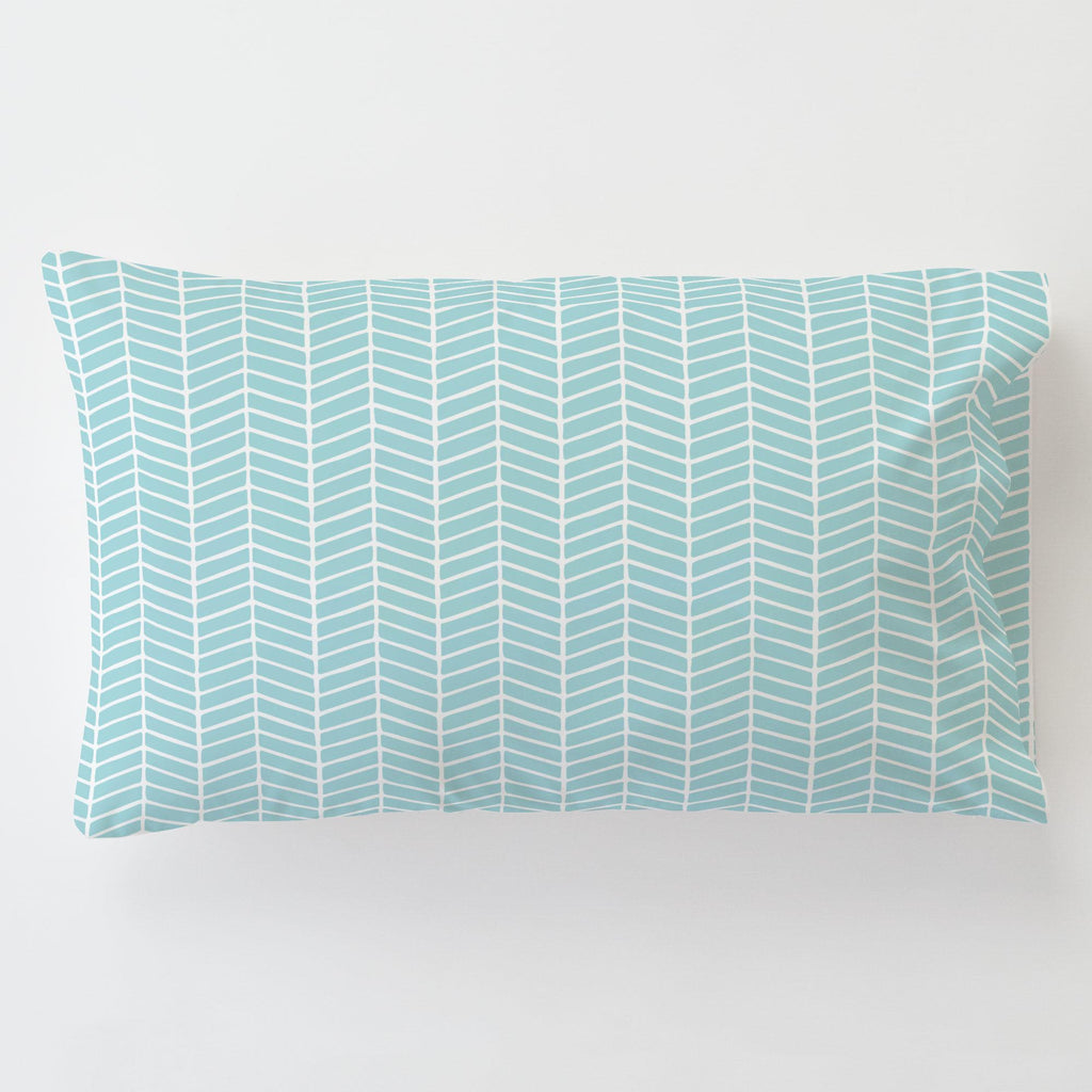 Product image for Seafoam Aqua Herringbone Toddler Pillow Case with Pillow Insert