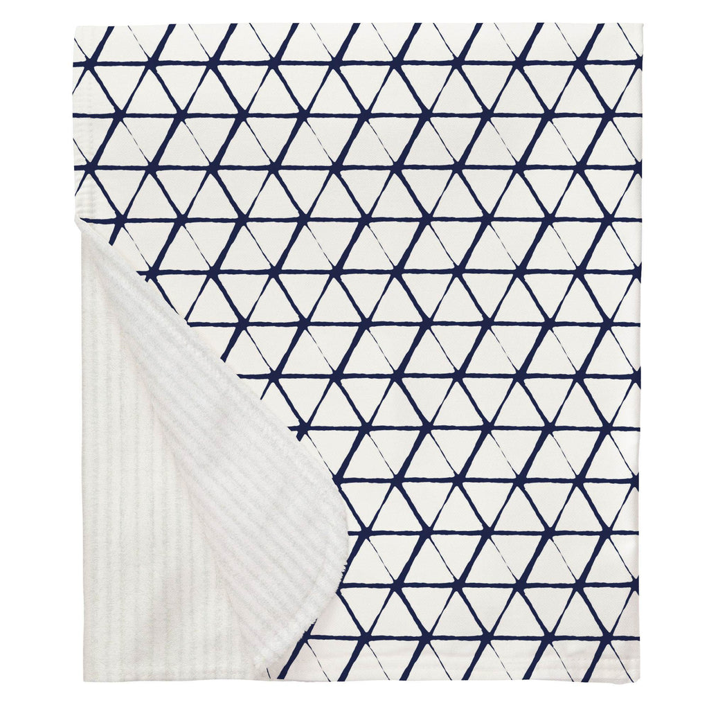 Product image for White and Navy Aztec Triangles Baby Blanket