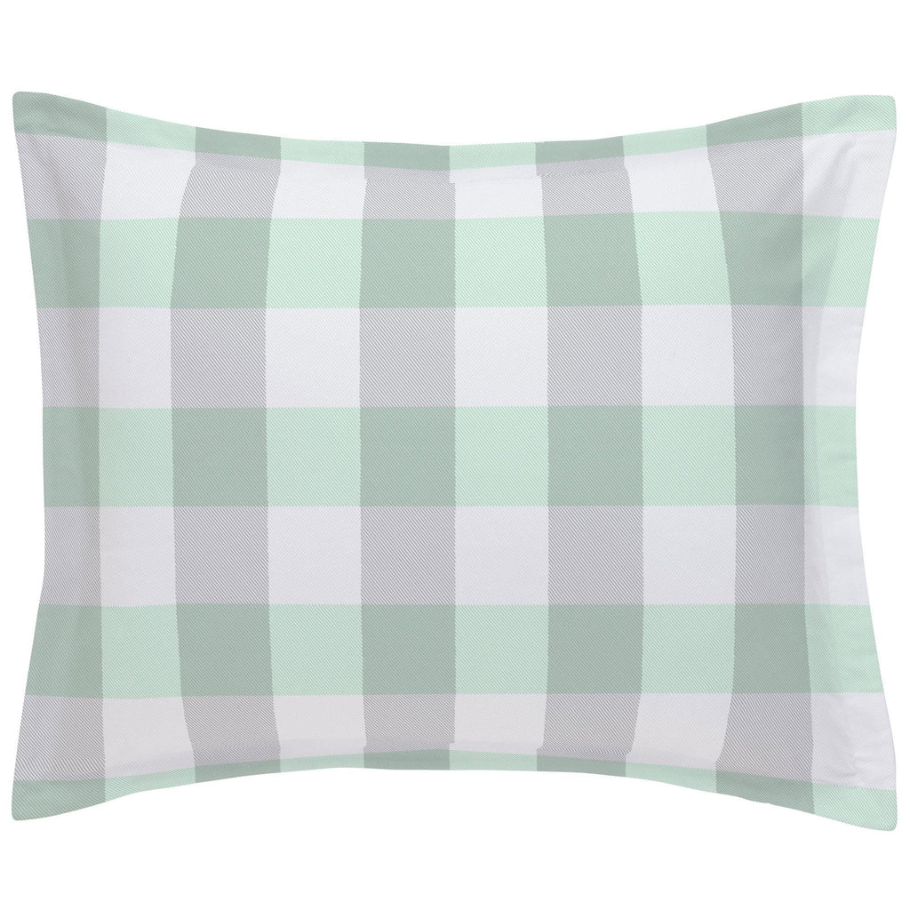 Product image for Mint and Gray Buffalo Check Pillow Sham