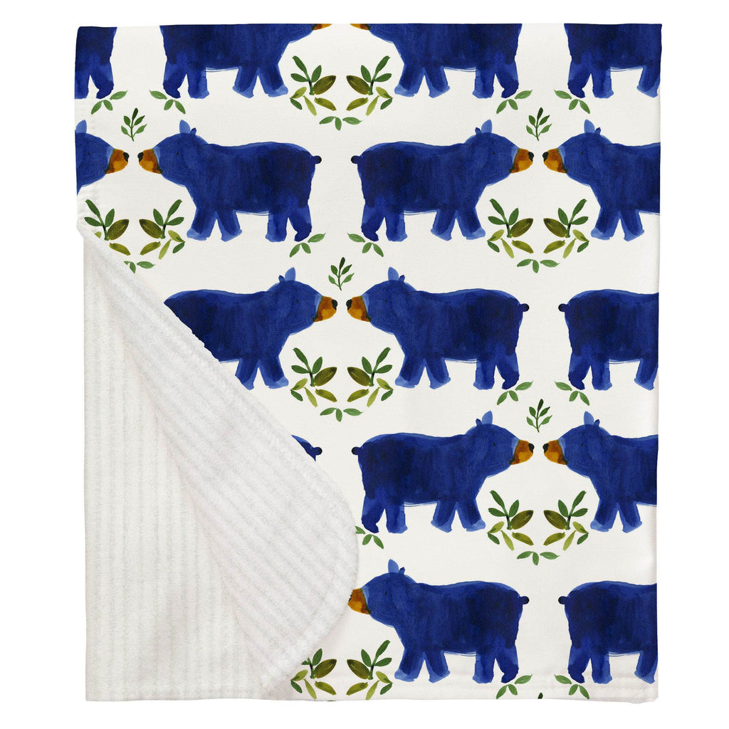 Product image for Blue Woodland Bear Baby Blanket