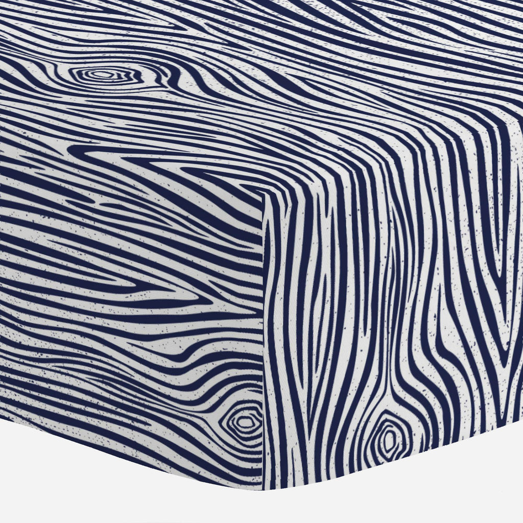 Product image for Navy Woodgrain Crib Sheet