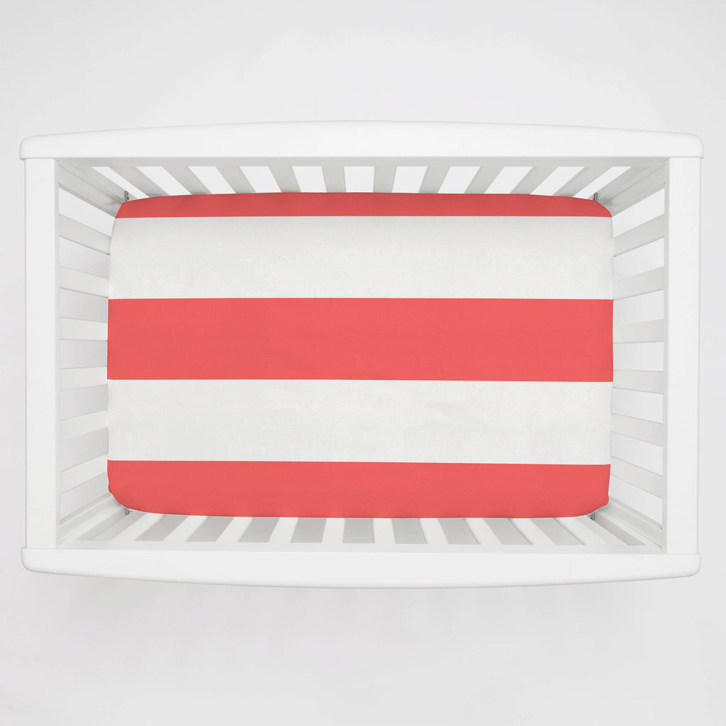 Product image for Coral Horizontal Stripe Mini Crib Sheet