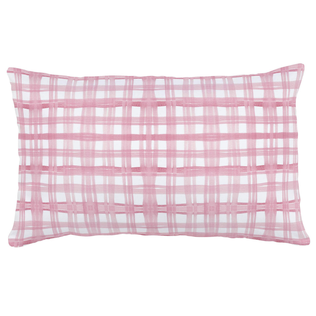 Product image for Pink Watercolor Plaid Lumbar Pillow