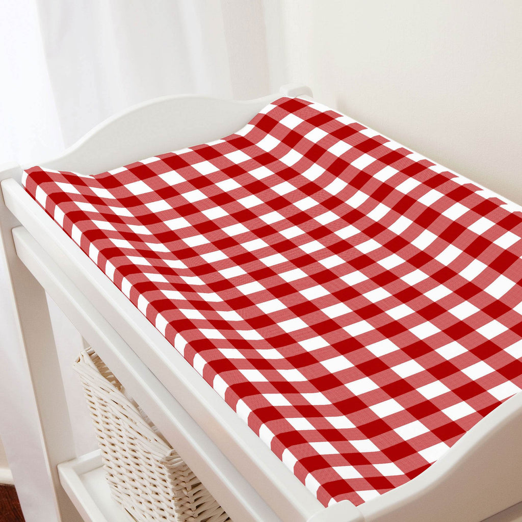 Product image for Red Gingham Changing Pad Cover