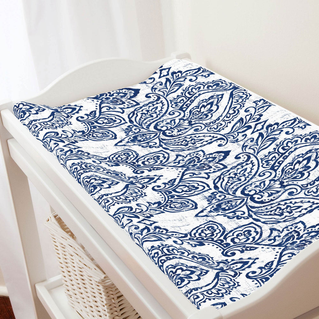 Product image for White and Navy Vintage Damask Changing Pad Cover