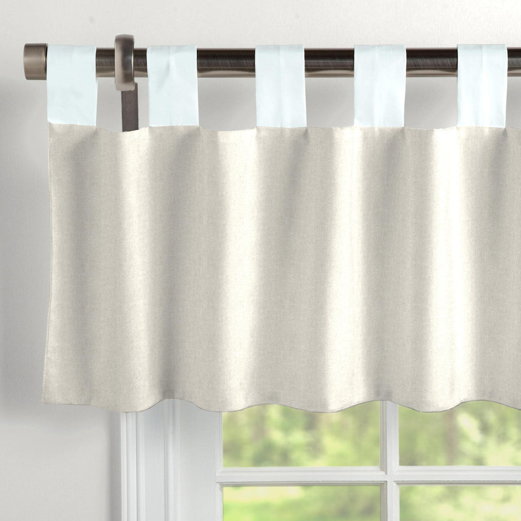 Product image for Light Blue and Flax Linen Window Valance Tab-Top