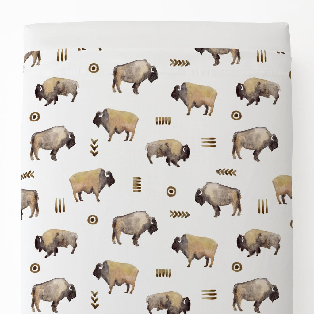 Product image for Watercolor Buffalo Toddler Sheet Top Flat