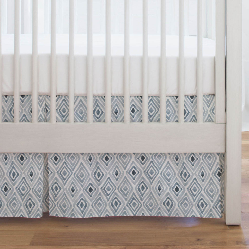 Product image for Steel Blue Painted Diamond Crib Skirt Single-Pleat