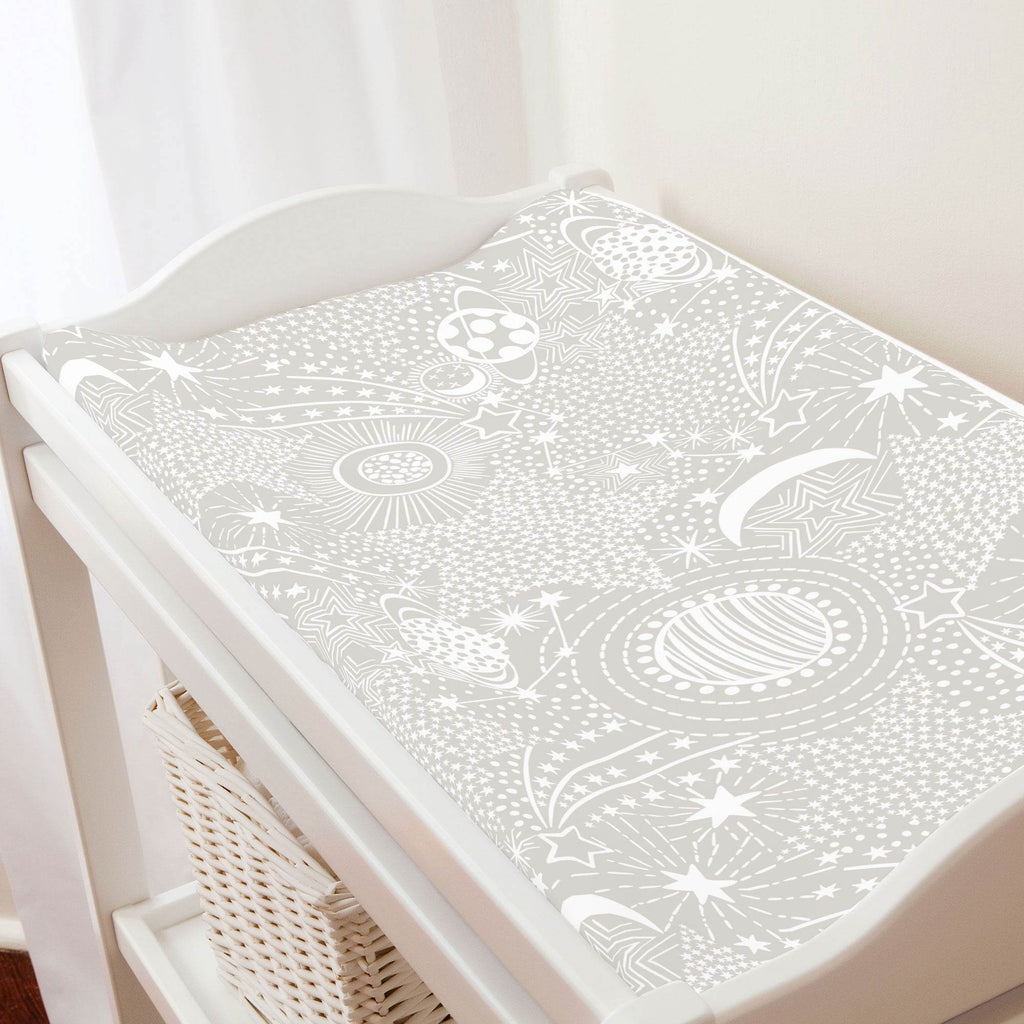 Product image for French Gray and White Galaxy Changing Pad Cover