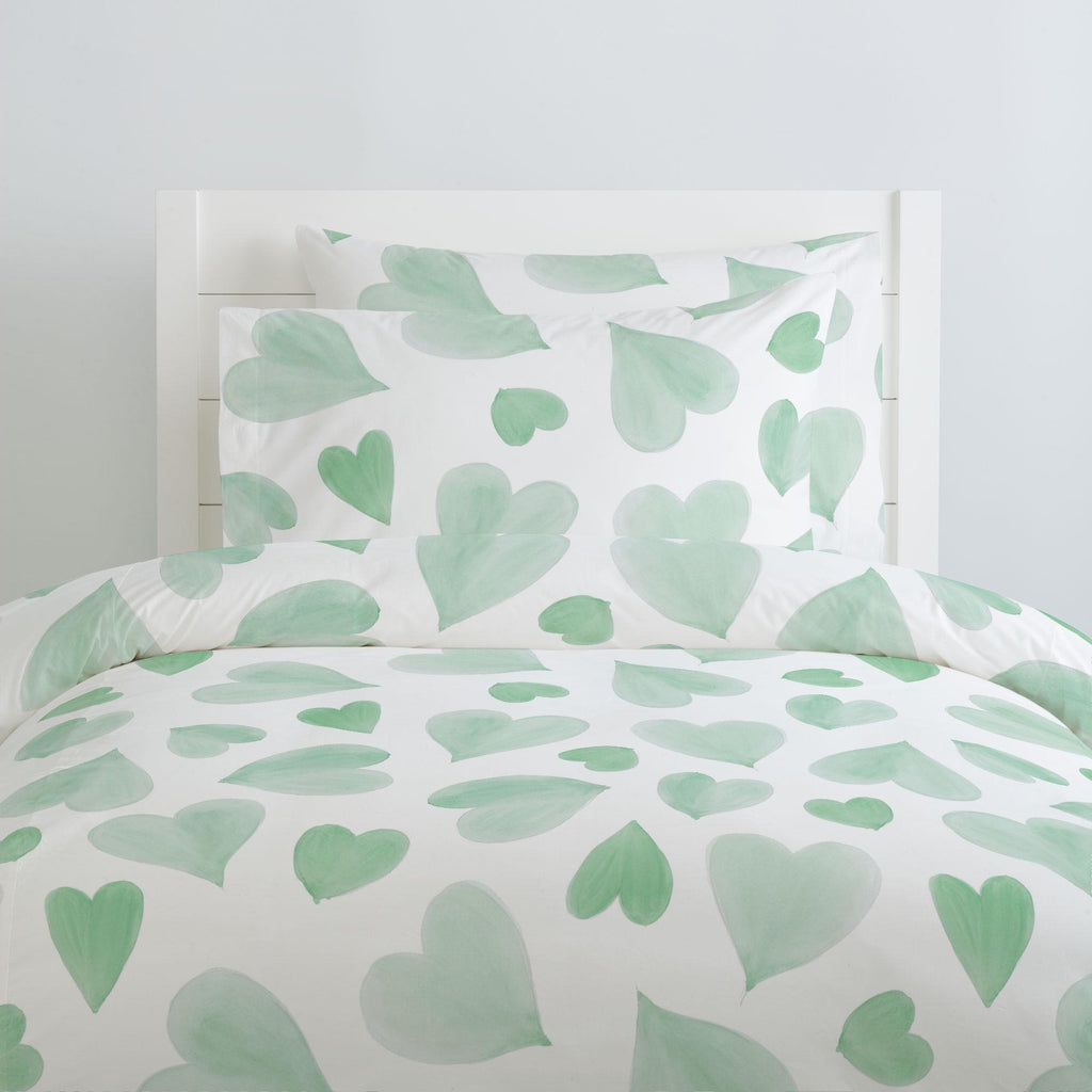 Product image for Mint Watercolor Hearts Duvet Cover