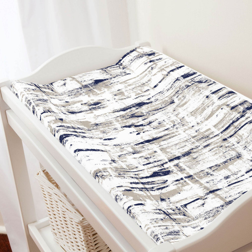 Product image for Navy and Taupe Birch Changing Pad Cover