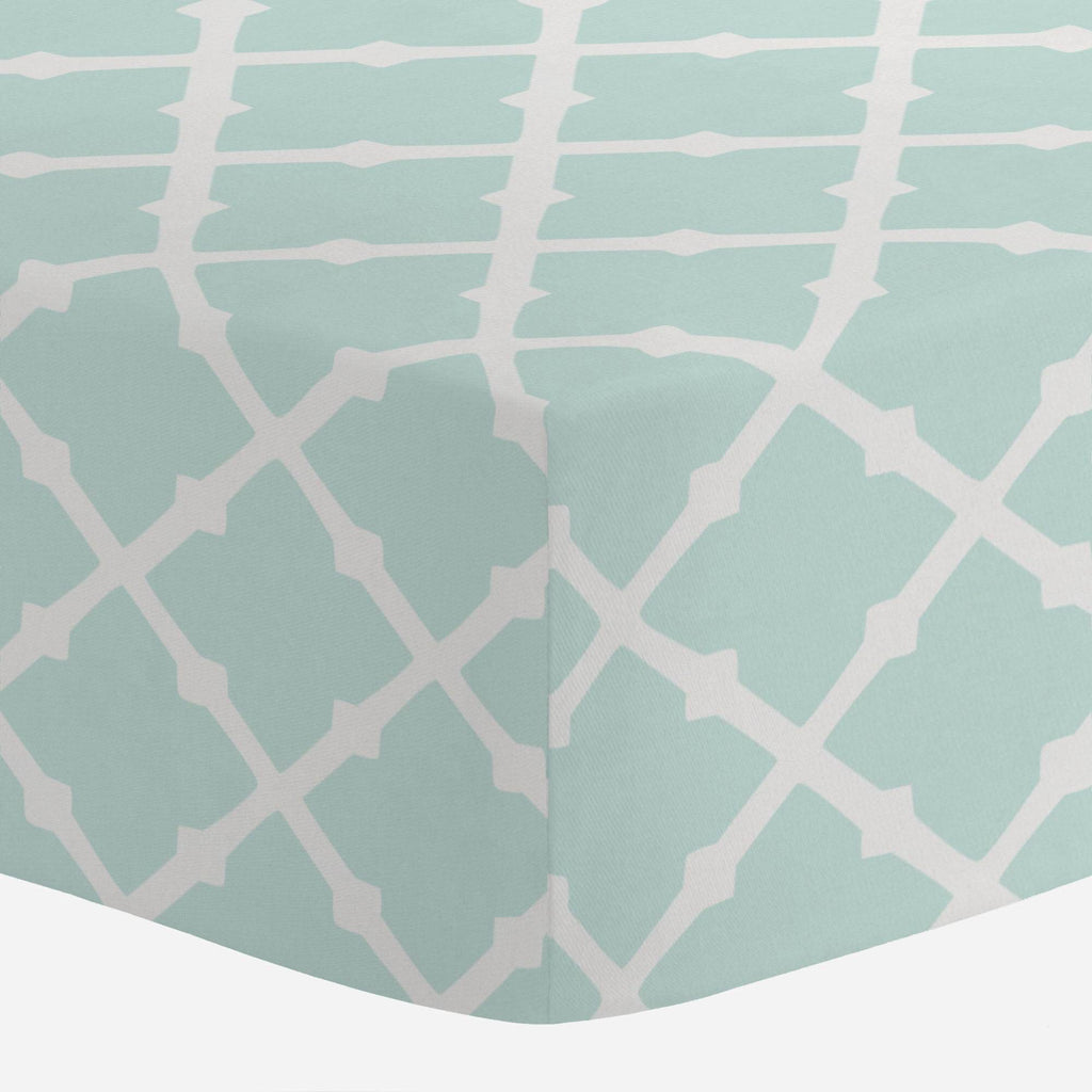 Product image for Icy Mint Lattice Crib Sheet