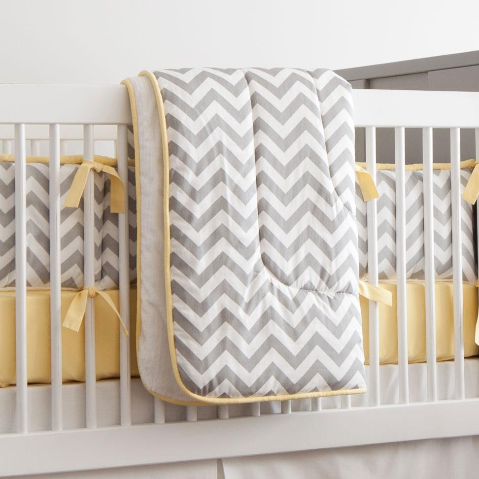 Product image for White and Gray Zig Zag Crib Comforter with Piping