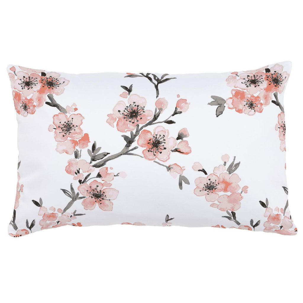 Product image for Light Coral Cherry Blossom Lumbar Pillow