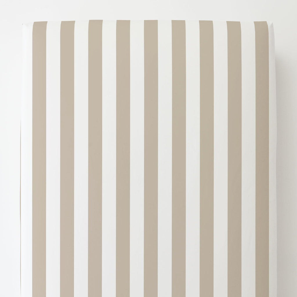 Product image for Taupe Stripe Toddler Sheet Bottom Fitted