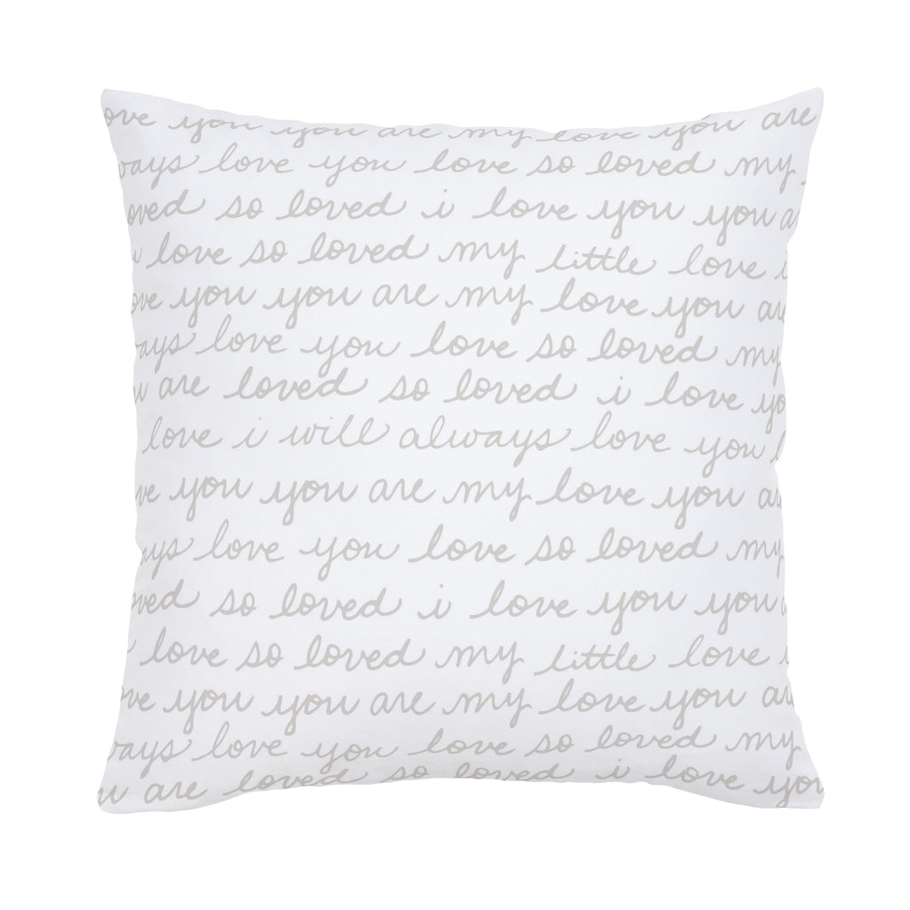 Product image for French Gray Love Words Throw Pillow