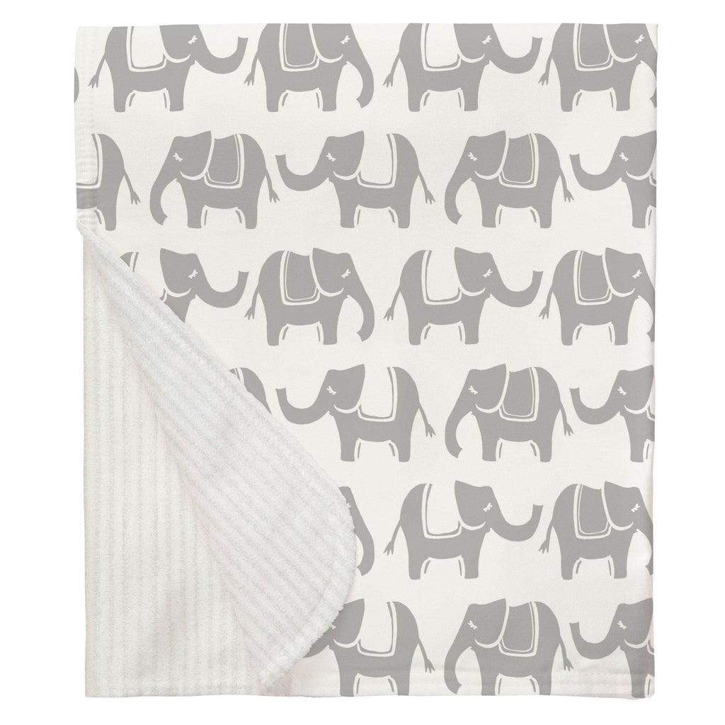 Product image for Silver Gray Marching Elephants Baby Blanket