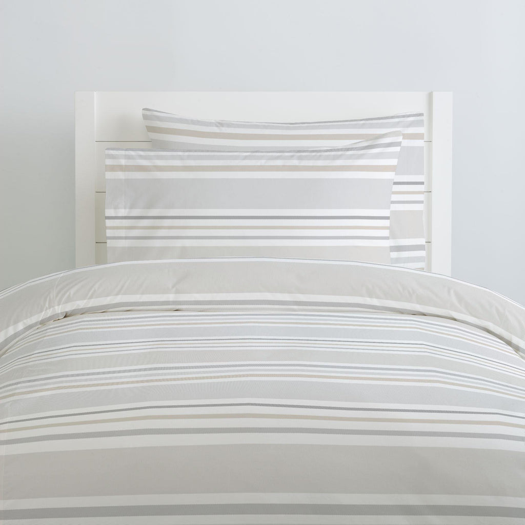 Product image for French Gray and Taupe Summer Stripe Duvet Cover