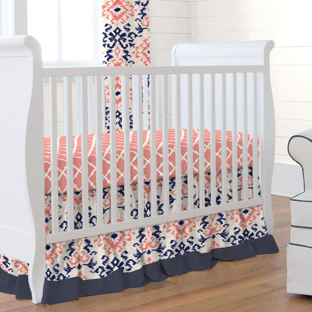Product image for Navy and Coral Ikat Damask Crib Skirt Gathered with Trim