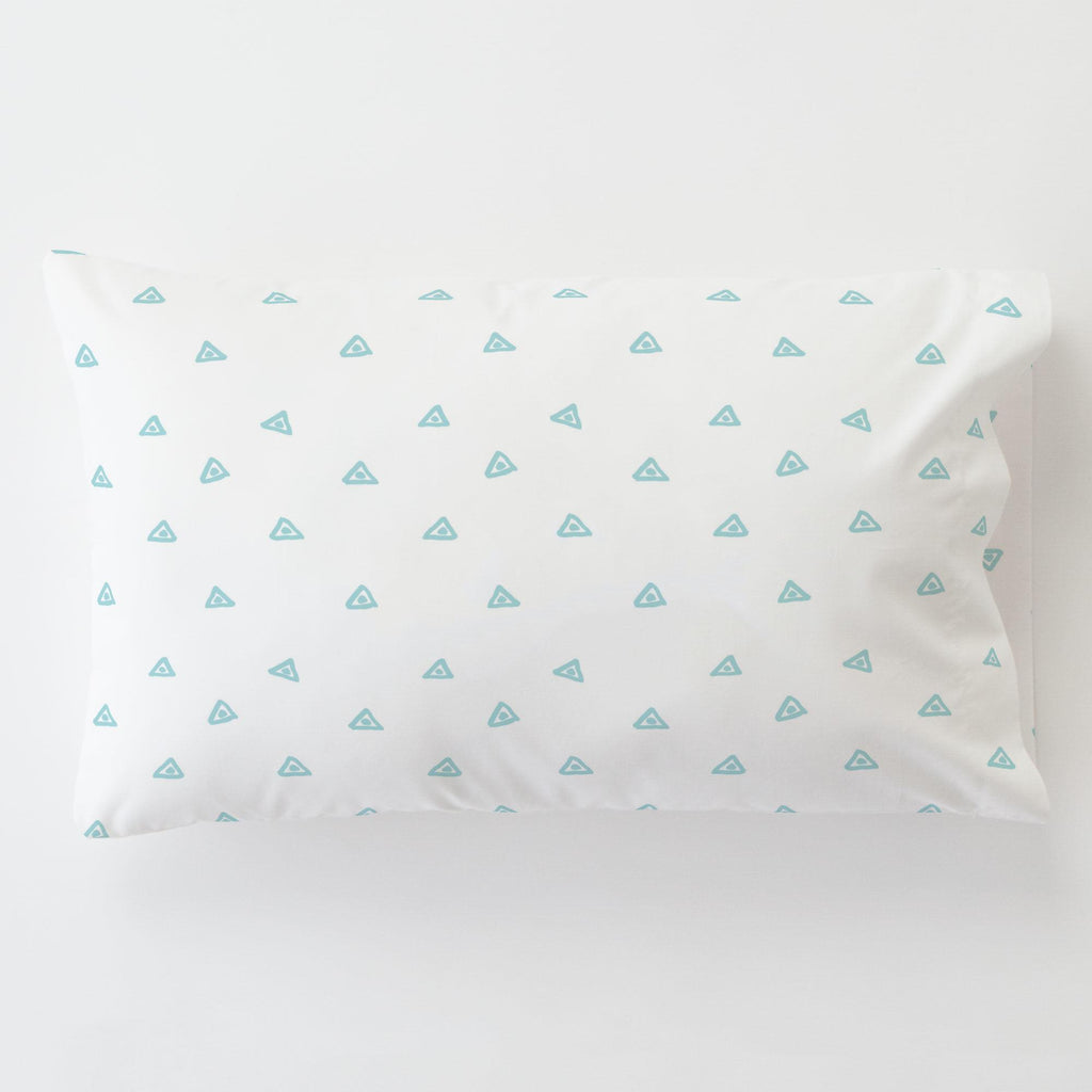 Product image for Seafoam Aqua Triangle Dots Toddler Pillow Case with Pillow Insert
