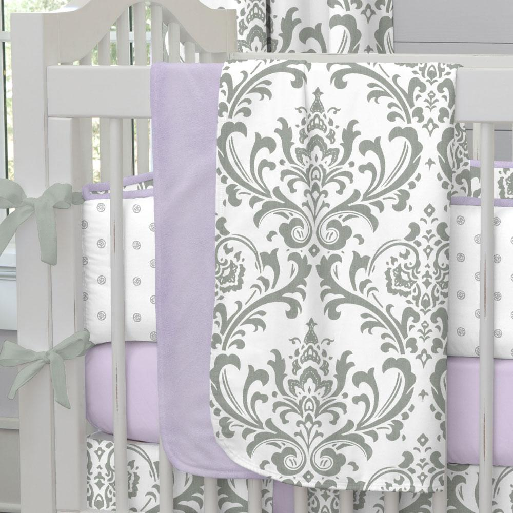 Product image for Lilac and Gray Traditions Damask Baby Blanket