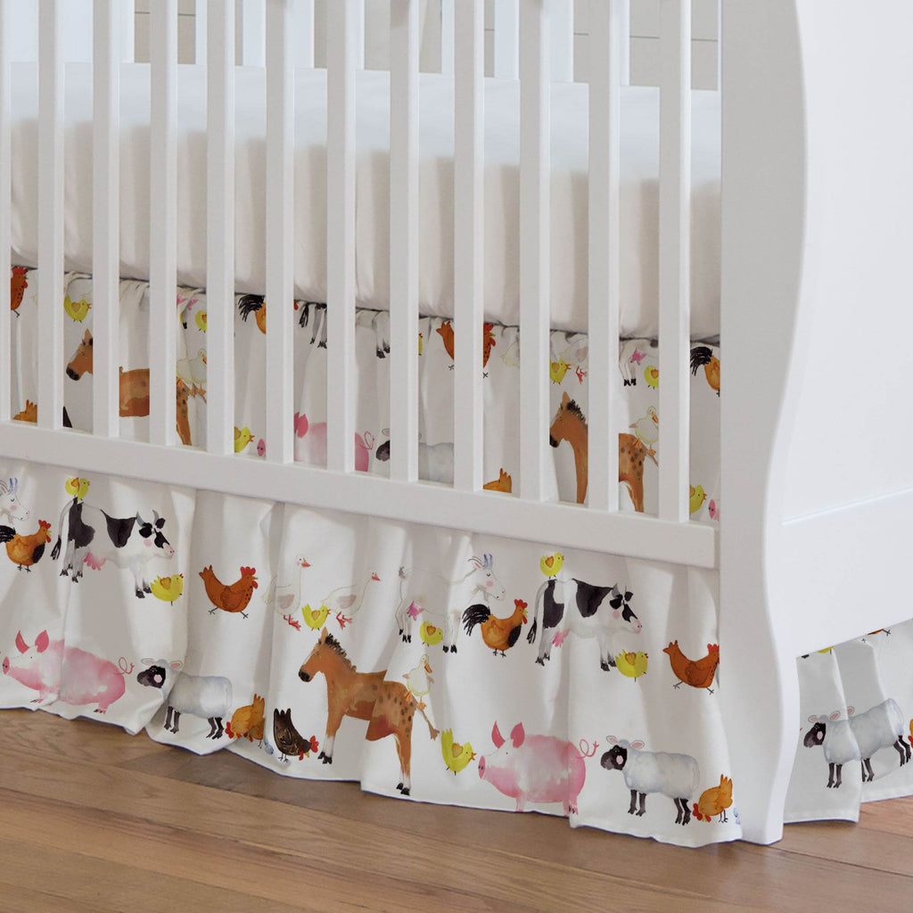 Product image for Painted Farm Animals Crib Skirt Gathered