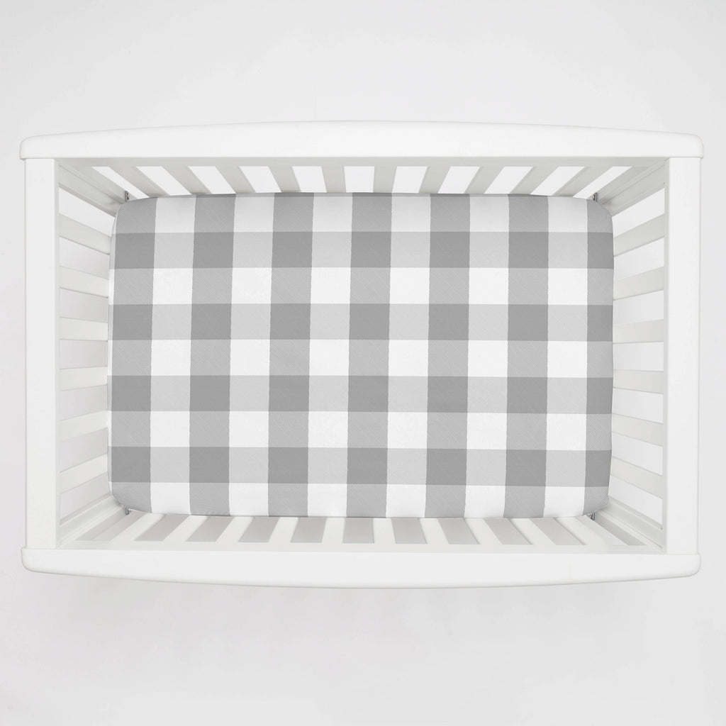 Product image for Gray Buffalo Check Mini Crib Sheet