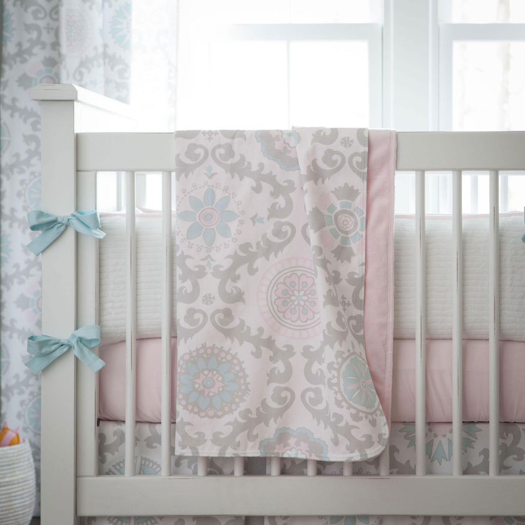 Product image for Pink and Gray Rosa Baby Blanket