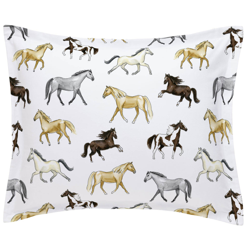Product image for Watercolor Horses Pillow Sham