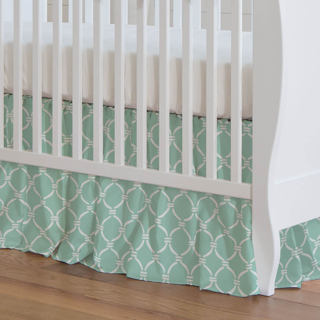 Product image for Mint and White Lattice Circles Crib Skirt Gathered