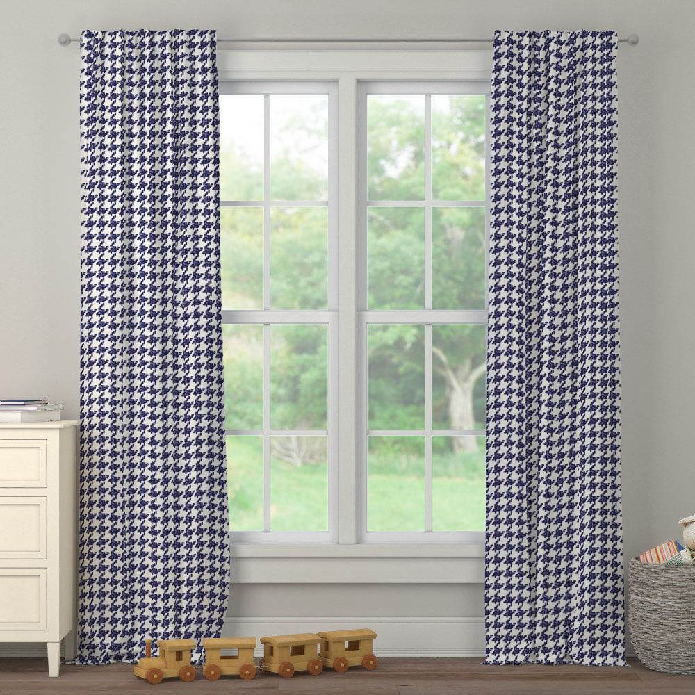 Product image for Windsor Navy Modern Houndstooth Drape Panel