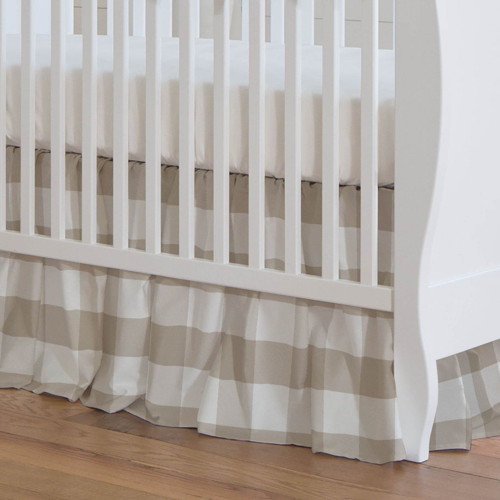 Product image for Taupe and White Buffalo Check Crib Skirt Gathered