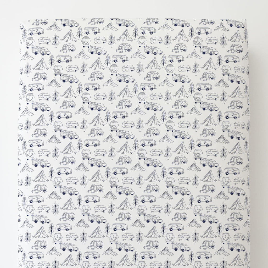 Product image for Navy Little Campers Toddler Sheet Bottom Fitted