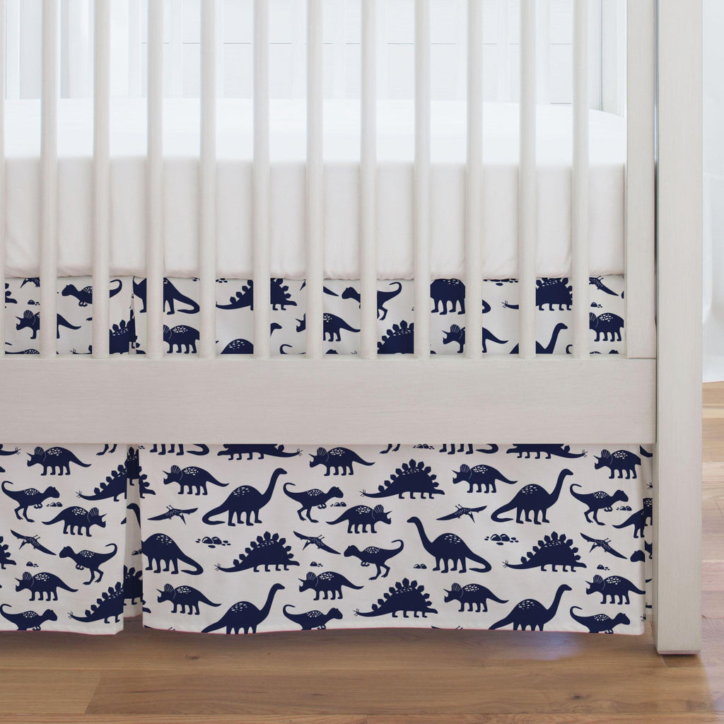 Product image for Navy Dinosaurs Crib Skirt Single-Pleat