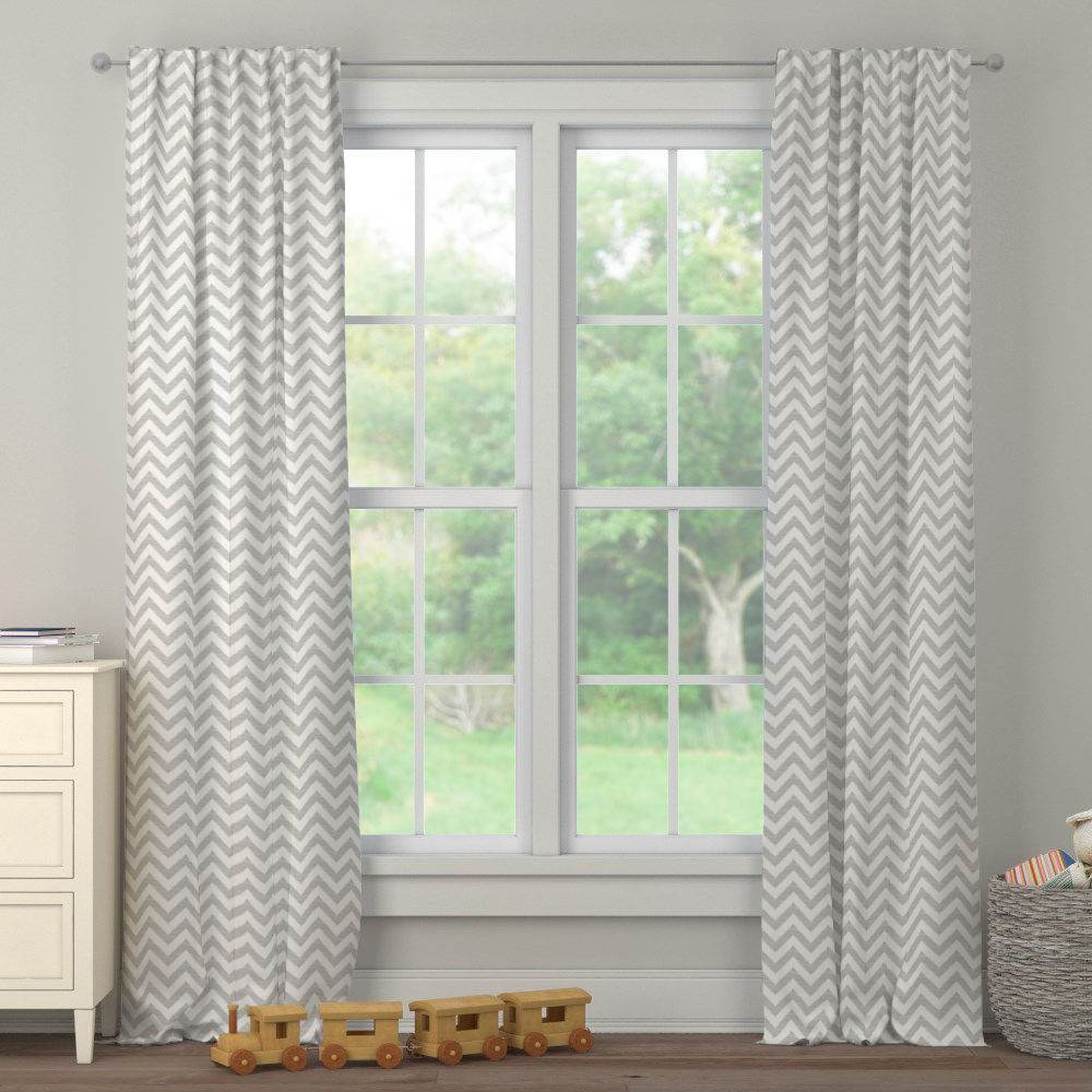 Product image for White and Silver Gray Chevron Drape Panel