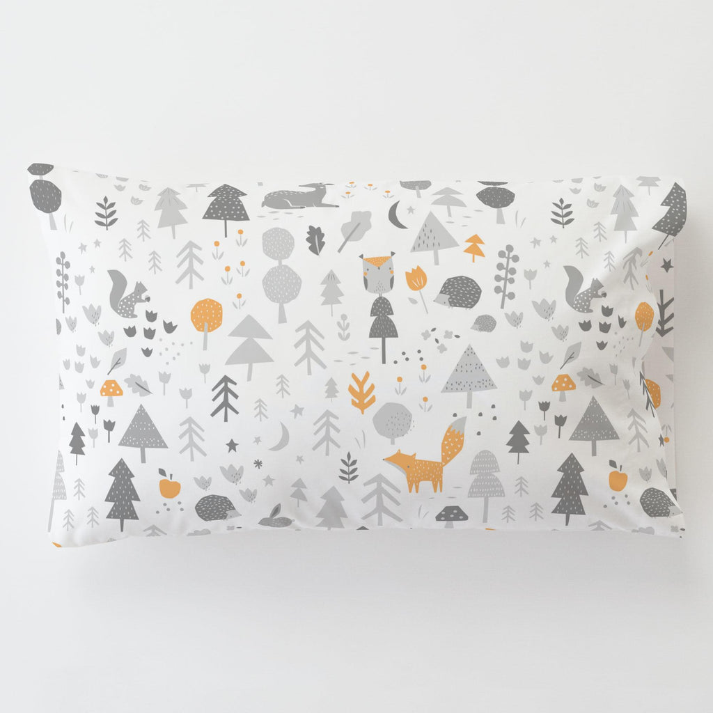 Product image for Light Orange and Silver Gray Baby Woodland Toddler Pillow Case with Pillow Insert