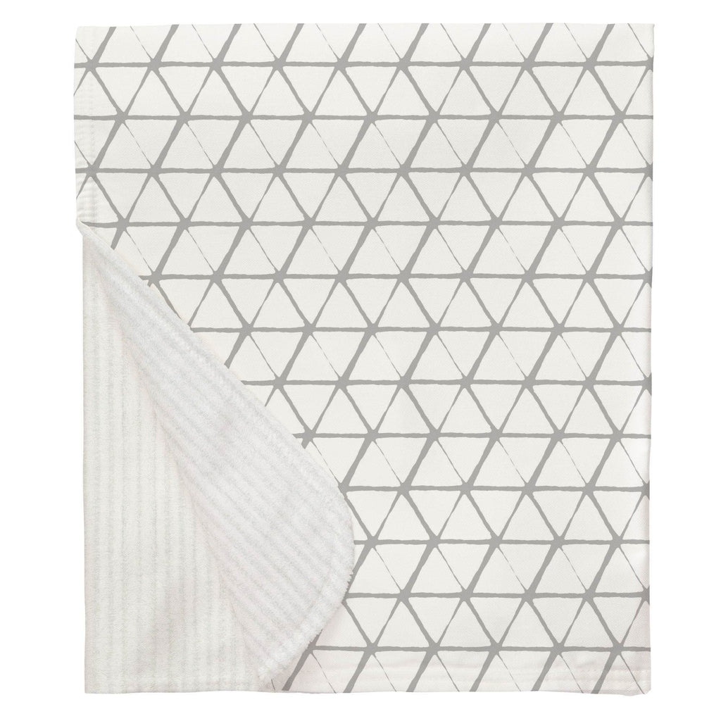 Product image for White and Silver Gray Aztec Triangles Baby Blanket