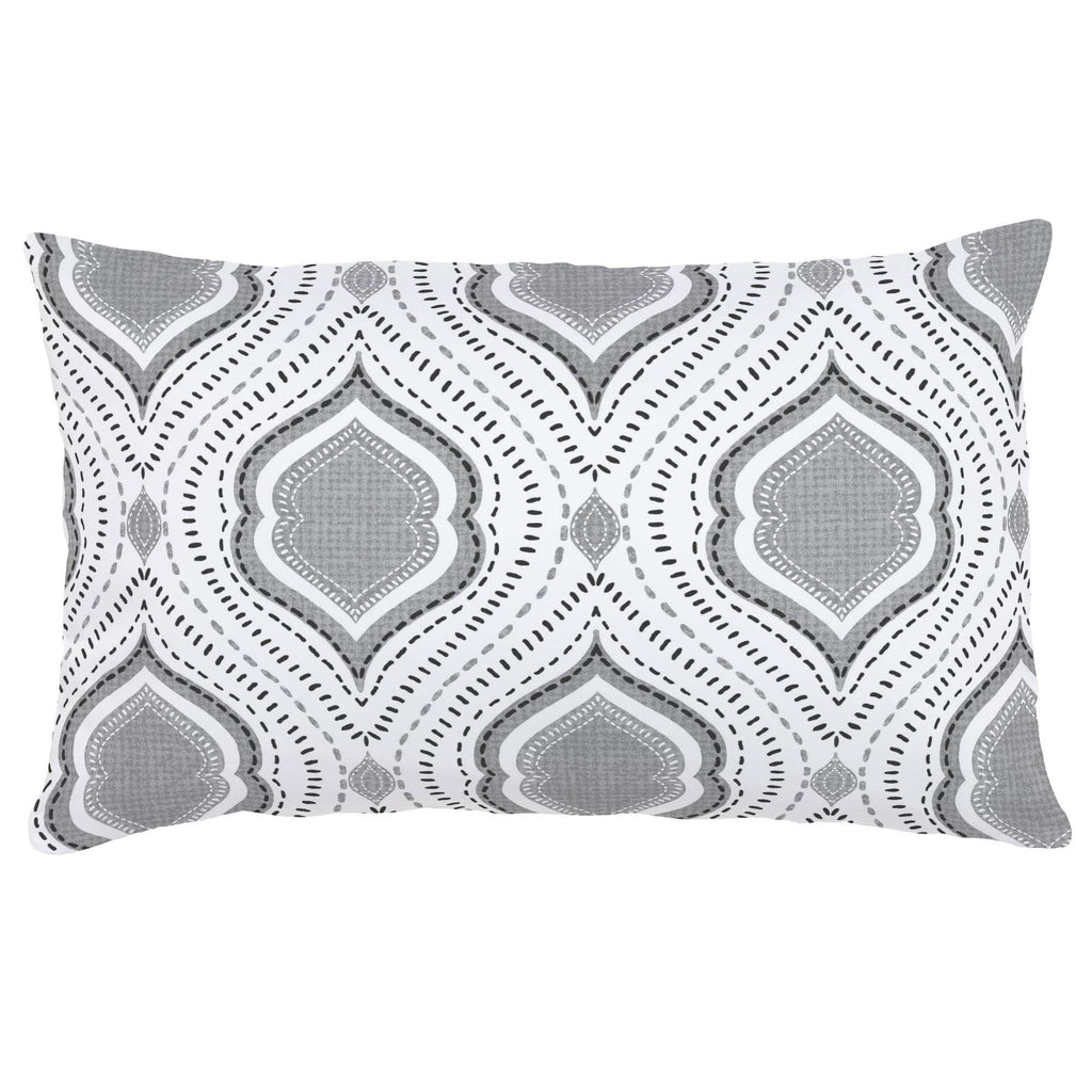 Product image for Gray Moroccan Damask Lumbar Pillow