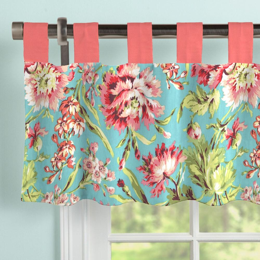 Product image for Coral and Teal Floral Window Valance Tab-Top