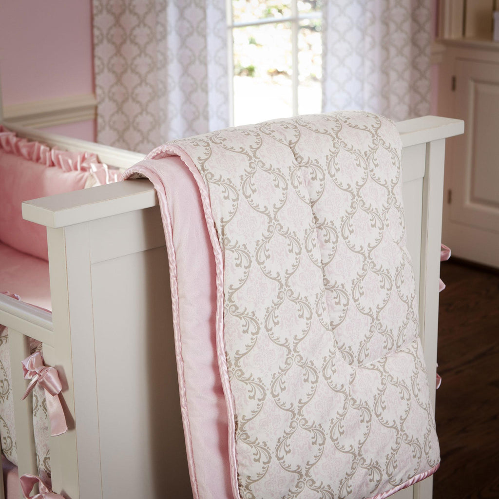 Product image for Pink and Taupe Damask Crib Comforter with Piping