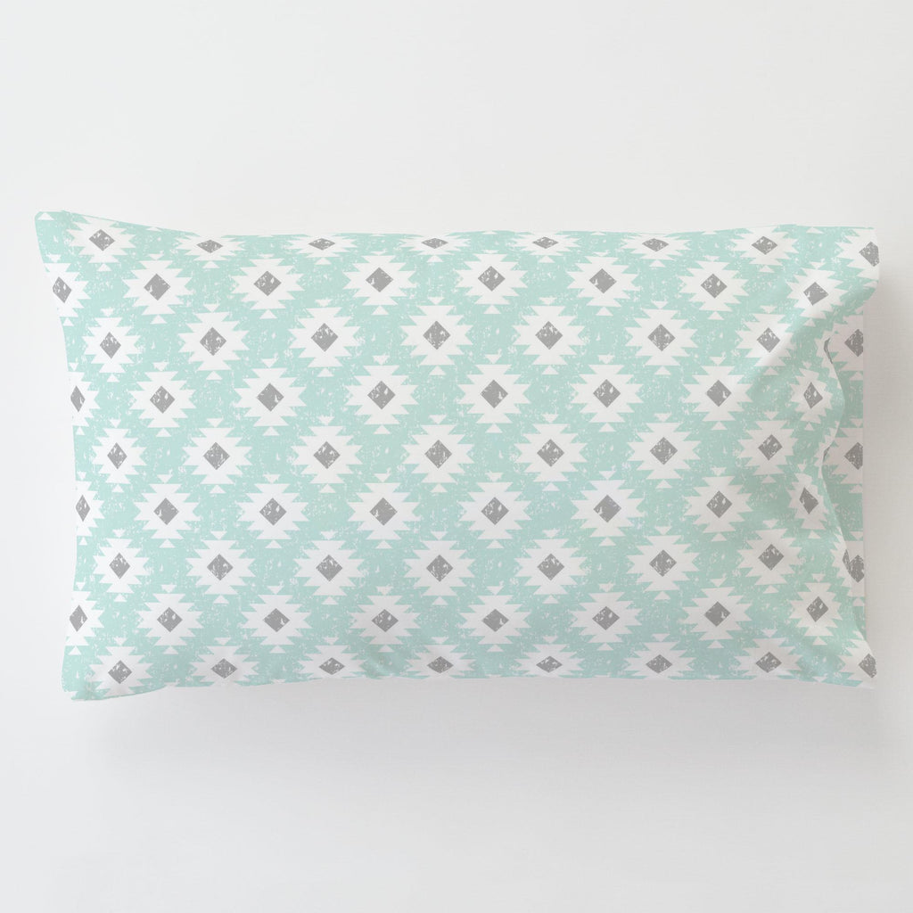 Product image for Icy Mint and Gray Aztec Toddler Pillow Case with Pillow Insert